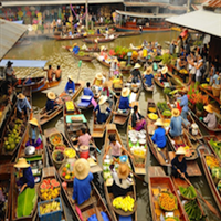Damnern Saduak Floating & Rom Hub Train Markets + Nakhon Pathom * Private